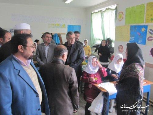 بازدید سرزده فرماندار گمیشان و مدیرکل آموزش و پرورش استان از مدارس گمیشان