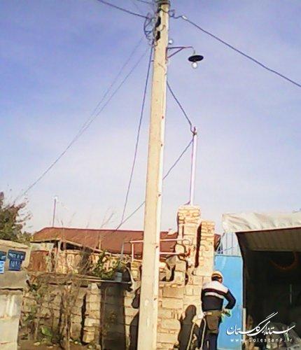 نصب چراغ روشنایی معابر روستای نارکلاته رامیان