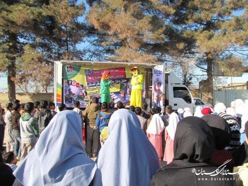"""نمایش عروسکی با عنوان""""ایمن سازی مدارس حاشیه راه ها""""در حال اجراست"""