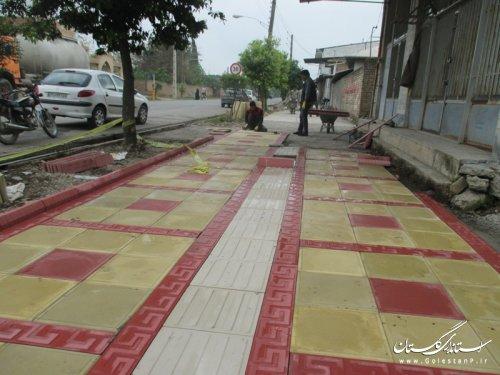 شروع عملیات پیاده رو سازی  شهر مزرعه کتول
