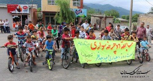 به مناسبت روز دهیار و عید سعید فطر مسابقه دوچرخه سواری در صادق آباد برگزار شد