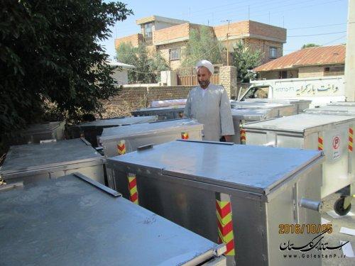 نصب 18 سطل زباله چرخدار در روستای ده حسن خان شهرستان مینودشت