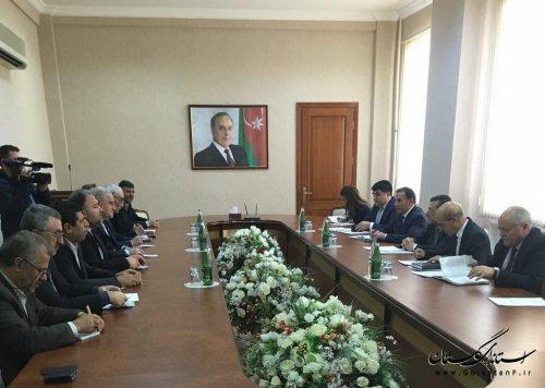 نشست اقتصادی استاندار گلستان با رییس کنفدراسیون کارفرمایان آذربایجان در باکو