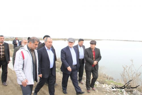 بازدید استاندار گلستان از آب بندان و طرح تسطیح اراضی محمدآباد