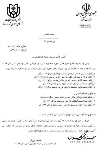 آگهی تایید صحت برگزاری انتخابات شورای شهر فراغی
