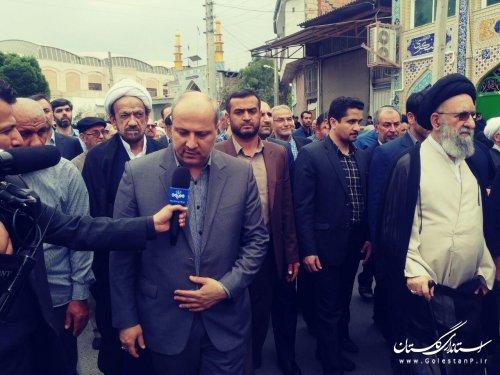 استاندار گلستان در راهپیمایی محکومیت عهدشکنی های امریکا حضور یافت