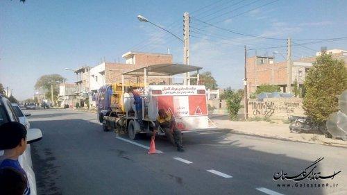 اجرای خط کشی معابر و رنگ آمیزی خیابان های شهر مراوه تپه