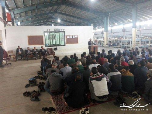 حضور مدیر نمایندگی ستاد دیه استان گلستان در جمع مددجویان زندان گرگان
