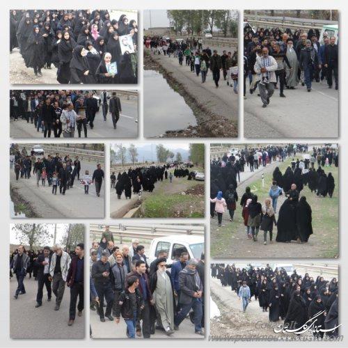 پیاده روی پرشور رهروان زینبی ویژه جامانده های اربعین در فاضل آباد برگزار گردید
