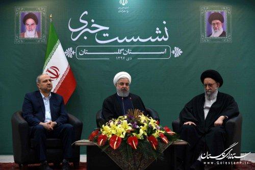دکتر روحانی در نشست خبری پایان سفر کاروان تدبیر و امید به استان گلستان: باید دست به دست هم بدهیم تا بتوانیم از مشکلات عبور کنیم