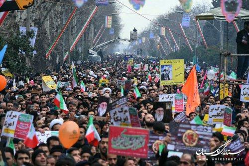 قدردانی نماینده ولی فقیه در استان و استاندار گلستان از حضور پرشور مردم در راهپیمایی یوم الله ۲۲ بهمن