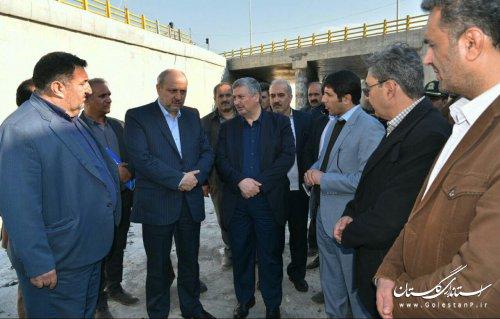 بازدید استاندار گلستان از پروژه ملی زیر گذر یساقی