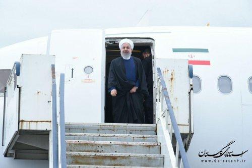 دکتر روحانی رئیس جمهور وارد گلستان شد