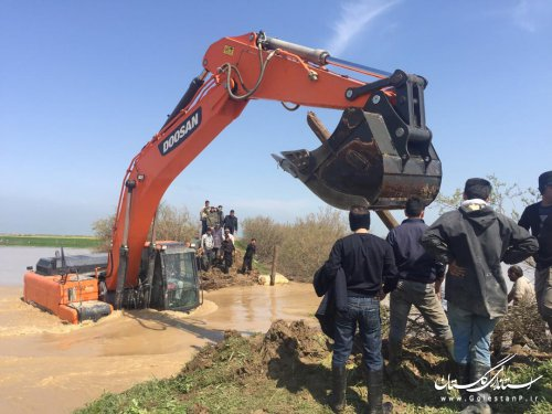 ترمیم نقاط 10 گانه شکافتهشده رودخانه گرگانرود در شهرستان گمیشان