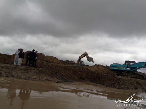 ایجاد کانال و دایک حفاظتی اقدامی پیشگیرانه در ورود سیلاب به مجتمع پرورش میگو گمیشان است