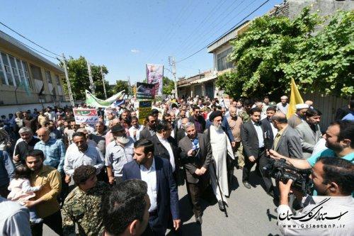 حضور سرپرست استانداری گلستان در راهپیمایی روز جهانی قدس
