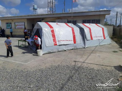 کاروان سلامت تخصصی دندانپزشکی جمعیت هلال احمر مازندران در مناطق سیل زده گستان