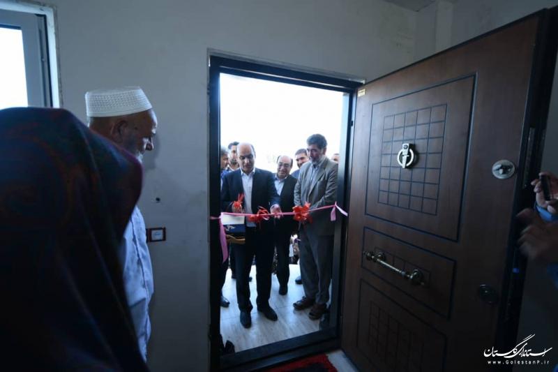 افتتاح اولین واحد مسکونی احداثی در مناطق سیل زده شهرستان گمیشان