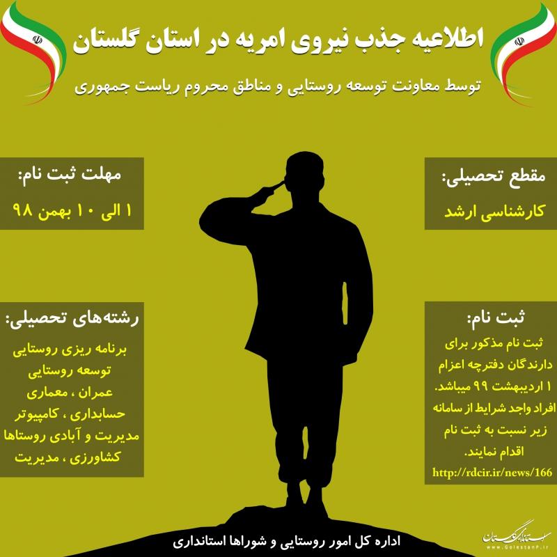 اطلاعیه جذب نیروی امریه در استانداری گلستان