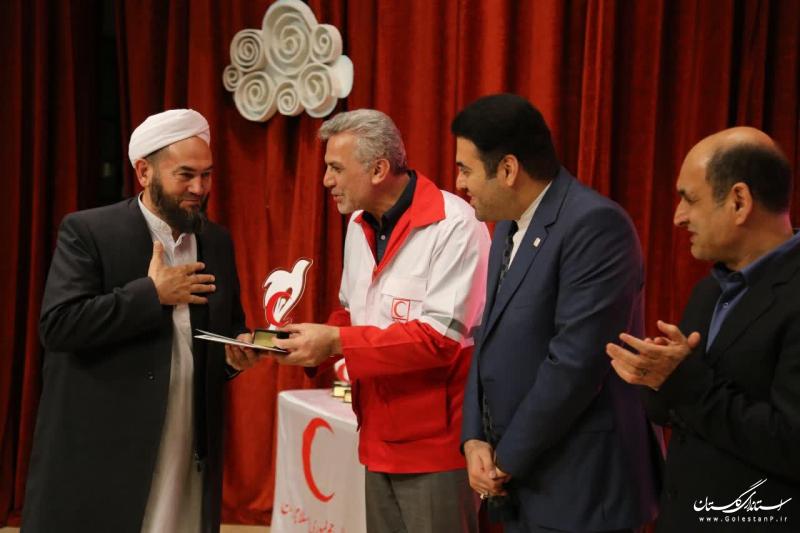 آیین تجلیل از داوطلبان جمعیت هلال احمر گلستان برگزار شد