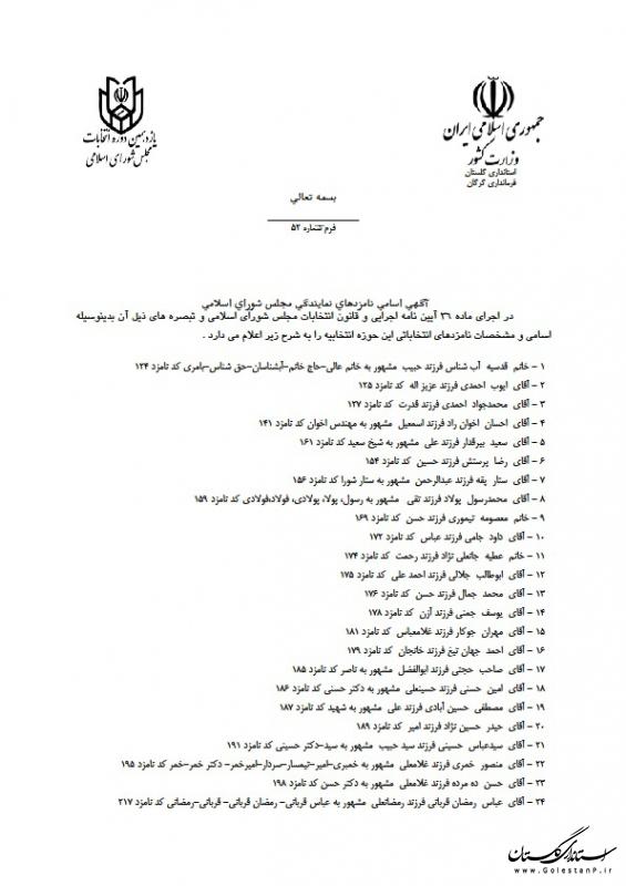 آگهی اسامی نامزدهای نمایندگی مجلس شورای اسلامی حوزه انتخابیه گرگان و آق قلا
