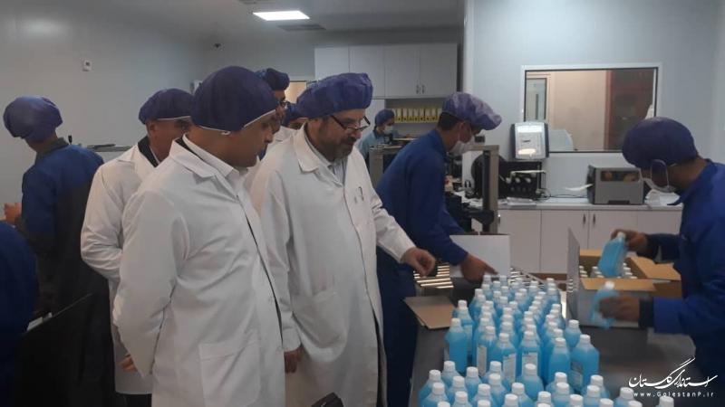 بازدید استاندار گلستان از شرکت تولیدی مواد ضد عفونی کننده در استان