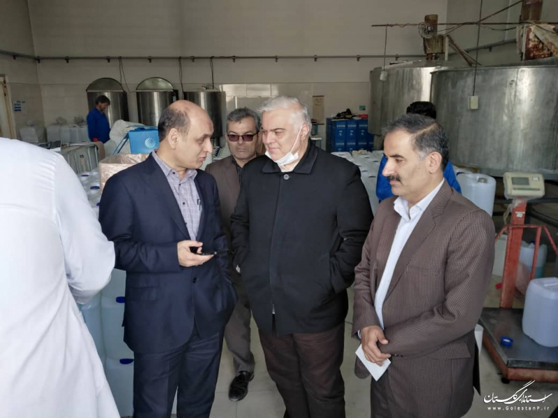 بازدید استاندار گلستان از واحدهای تولیدی موادضدعفونی کننده و ماسک بهداشتی