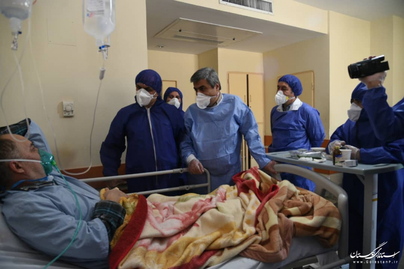 عیادت استاندار گلستان از بیماران تحت درمان بیمارستان شهید صیاد شیرازی گرگان