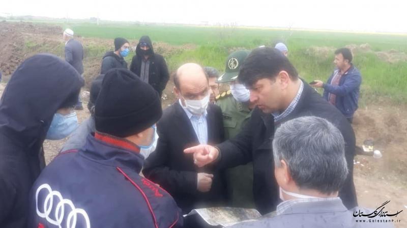 بازدید استاندار گلستان از اجرای دایک حفاظتی ممانعت از سیلاب احتمالی در شهرستان آق قلا