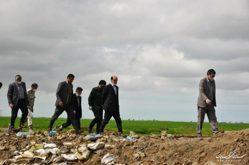 بازدید استاندار گلستان از ایجاد دایک حفاظتی در گمیشان