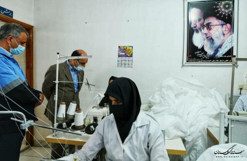 بازدید استاندار گلستان از یک واحد تولیدی ماسک و گان در شهرستان گنبدکاووس