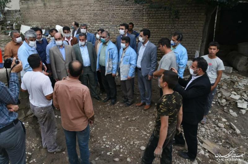 بازدید استاندار گلستان از طغیان رودخانه ها در شهرستان گالیکش