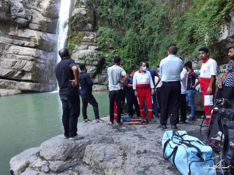 پوشش امدادی حادثه غرق شدگی نوجوان ۱۶ ساله در آبشار شیرآباد