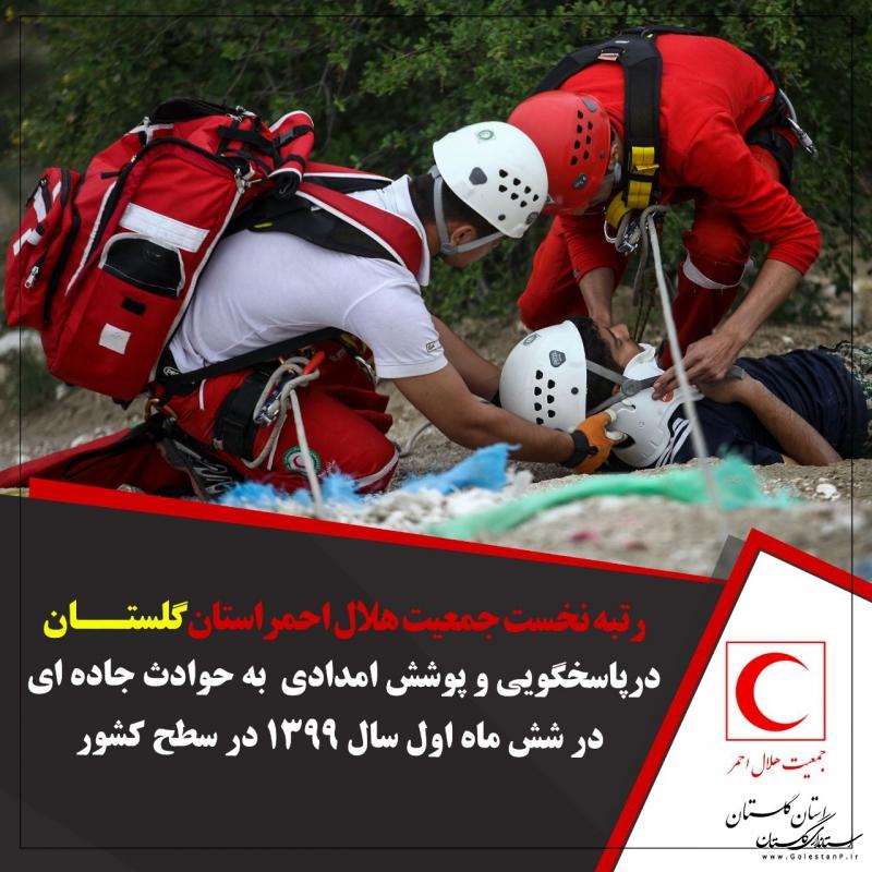 رتبه نخست هلال احمر گلستان در پاسخگویی به حوادث جاده ای