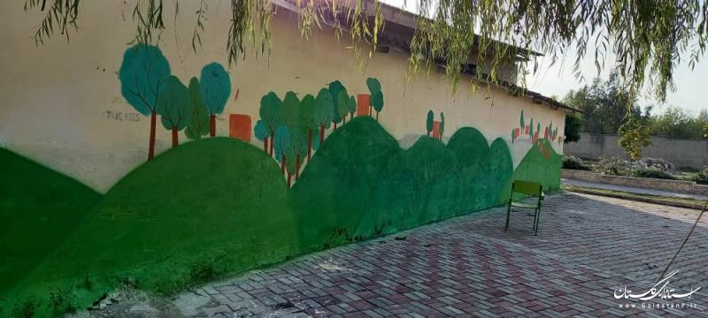 دیوار بلوار قدیمی گرگان با نقاشی و نوشته های کودکانه بازنگاری شد