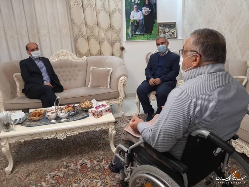 دیدار استاندار گلستان با جانباز ضایعه نخاعی