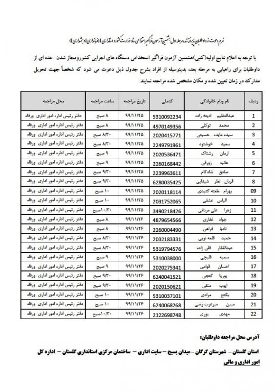 زمانبندی دعوت از پذیرفته شدگان مرحله اول هشتمین آزمون استخدامی ستاد وزارت کشور و استانداری ها