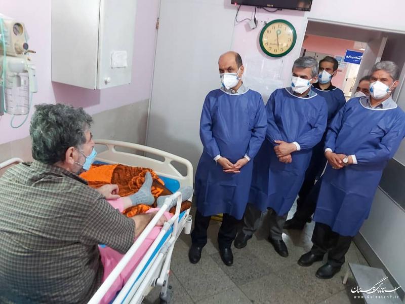 دیدار استاندار گلستان با بیماران بیمارستان ۵ آذر و بازدید از دستگاه توموتراپی